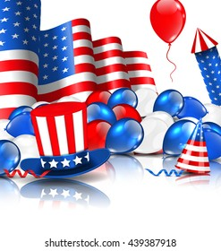 Illustration Cute Wallpaper in National American Colors with Balloons, Party Hats, Firework Rocket, Flag and Confetti - Vector