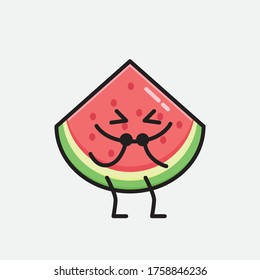 An illustration of Cute Watermelon Mascot Vector Character in Flat Design Style