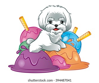 Illustration of cute white dog puppy in ice-cream
