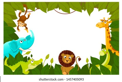 Illustration with cute wild animales in green leavs. Frame with zoo, africa, jungle animale.