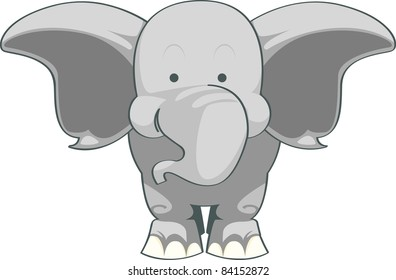 Illustration of a cute, young elephant