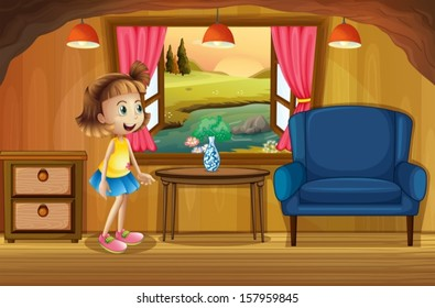 Illustration of a cute young girl in a tree house