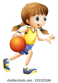 Illustration of a cute young lady playing basketball on a white background