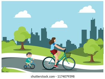 illustration of cycling in the park with familys, vector illustration