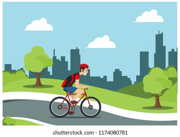 illustration of cycling in the park, vector illustration