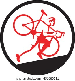 Illustration of a cyclocross athlete carrying bicycle on shoulder running uphill viewed from the side set inside circle on isolated background done in retro style.