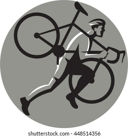 Illustration of a cyclocross athlete running carrying bicycle on shoulder viewed from the side set inside circle on isolated background done in retro style.