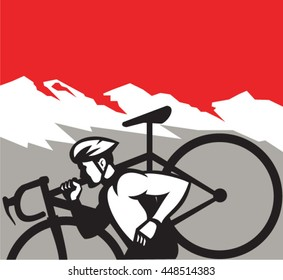 Illustration of a cyclocross athlete running carrying bicycle on shoulder viewed from the side set inside square shape with alps mountain in the background done in retro style.