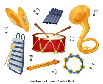 Illustration of Cymbals, Xylophone, Pan Flute, Drums, Flute, Sousaphone and Tambourine