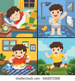 Illustration of The daily routine of a cute boy. [sleep, take a bath, eat, running]