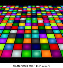 Illustration of a dance floor amongst starry open space. Vector.