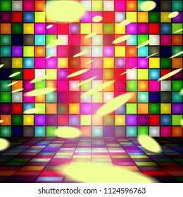 Illustration - Dance house, room. Dance floor, wall, palette of colors. Vector. Multicolor. Disco. Party.