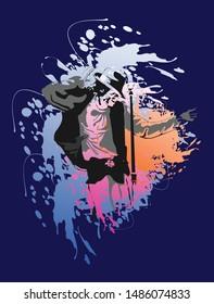 Illustration Dancer and singer Michael Jackson with color splash background.