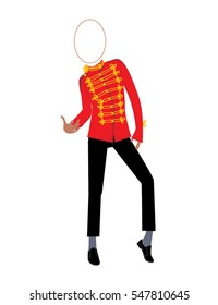 Illustration of a Dancer wearing red suit 80th style and with empty oval for the face photo. vector illustration. Billboard with a face cut-out