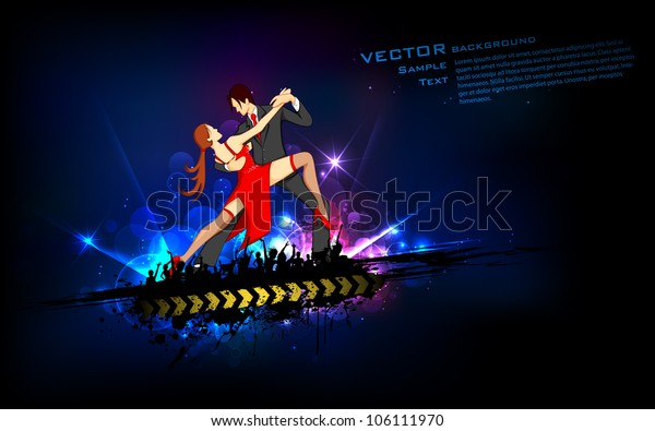 illustration of dancing couple performing salsa on abstract background