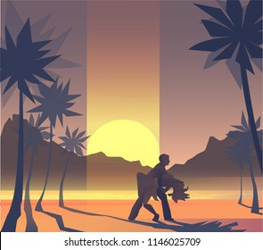 Illustration of dancing pair on the beach