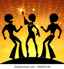 Illustration with dancing people on gold disco lights background. Vector EPS 10.