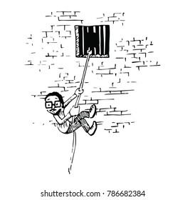 Illustration of a daring escape out a prison window.
