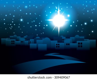 An illustration of a dark Bethlehem illuminated by the Christmas star of Christ. Vector EPS 10. EPS contains transparencies.