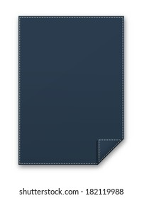 the illustration of dark blue blank template with folded corner / the blank rectangle template / the sheet