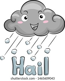 Illustration of a Dark Cloud Mascot with Ice Falling with Hail Lettering