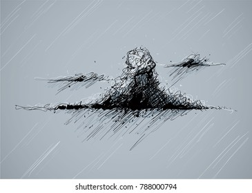 Illustration of a dark, wet and violent storm cloud dropping rain.
