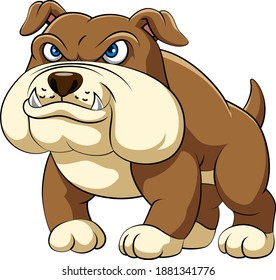 The illustration of the dashing bulldog is standing with big body and sharp teeth