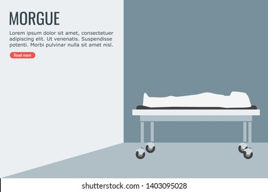 Illustration of a dead body in morgue of a hospital covered with a white fabric