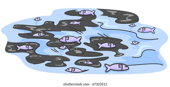 Illustration of Dead Fishes Floating Amidst Pools of Oil