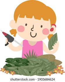 Illustration of a Deaf Kid Girl Wearing a Hearing Aid and Holding a Glue Gun and a Leaf in an Art Workshop