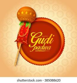 illustration with decorated background of Gudi Padwa celebration of India.