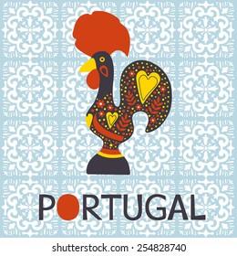 Illustration of  decorated Barcelos rooster symbol of Portugal. Vector illustration