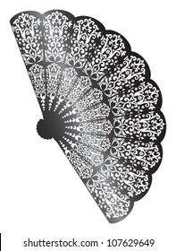 illustration with decorated fan silhouette isolated on white background