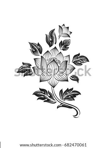 Illustration decorative tibetan lotus flower black stock vector illustration with decorative tibetan lotus flower black and white mightylinksfo