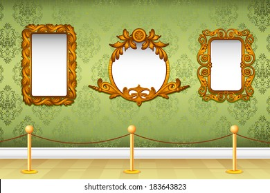 illustration of decorative wooden photo frame on wallpaper wall