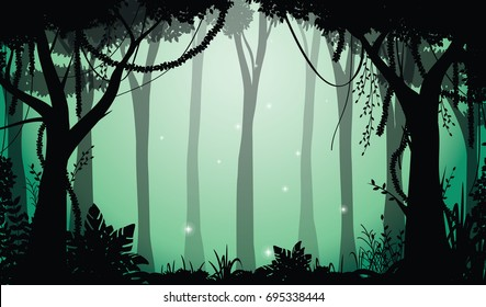 Illustration of Deep Forest, Jungle Silhouette at Night with Sparkles