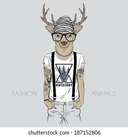 Illustration of deer dressed up in t-shirt with quote