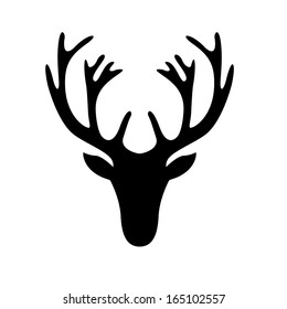 illustration of a deer head silhouette isolated on white, eps10 vector