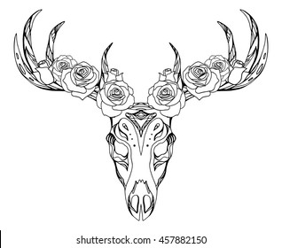 Illustration of a deer skull with roses and boho pattern. Vector element for tattoo sketch, printing on T-shirts, postcards and your creativity