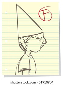 Illustration of a defeated little boy who is failing in school; wearing a dunce cap, drawing on a notebook paper background.