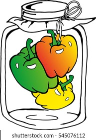 Illustration of Delicious Pickled Orange, Green and yellow Bell Peppers or Sweet Peppers in Vinegar, Sugar, Salt and Condiment in A Glass Jar.