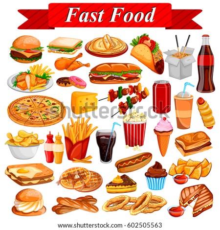 Cuisine Illustration illustration delicious tasty fast food drink stock vector (royalty