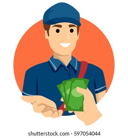 Illustration of a Delivery man Received a Cash