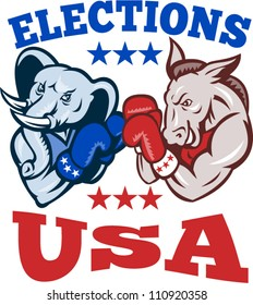 Illustration of a democrat donkey mascot of the democratic and republican elephant boxer boxing with gloves set inside circle done in retro style with words elections usa