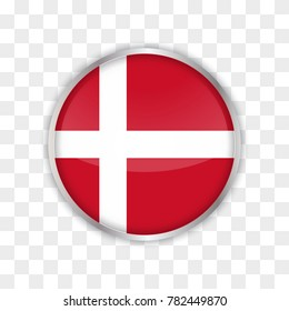 illustration of denmark flag with isolated transparent background