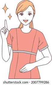 指を指す歯科衛生士のイラスト。