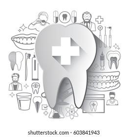 Illustration of dental icons set