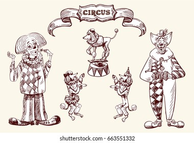 Illustration depicting clowns and circus animals.  Image in the style of a circus vintage, drawing by hand. Vector drawing.