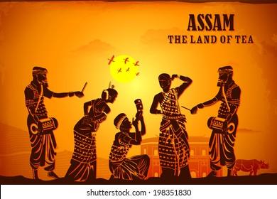 illustration depicting the culture of Assam, India