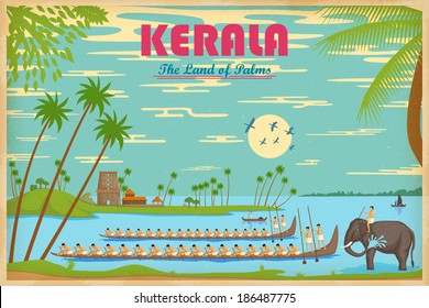 illustration depicting the culture of Kerala, India